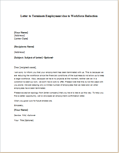 Layoff Letter Due To Lack Of Business