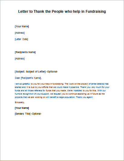 Letter to Thank the People who help in Fundraising