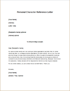 Personal Character Reference Letter Template | writeletter2.com