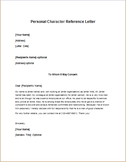 writing a character reference letter for someone