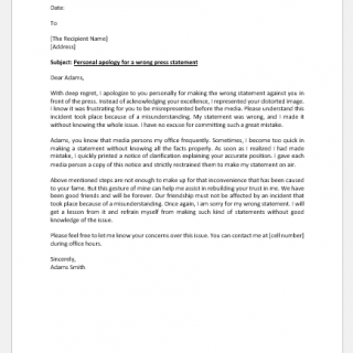 Personal apology letter for wrong press statement