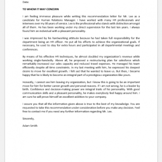 Recommendation Letter for Human Relation Manager