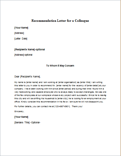 Recommendation Letter for a Colleague
