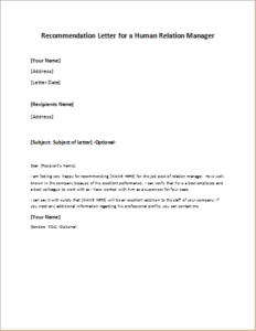 Recommendation Letter for a Human Relation Manager