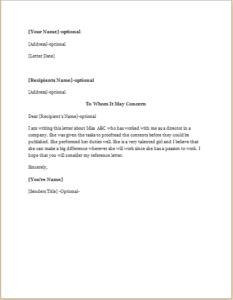 Reference Letter for a Co-Worker