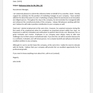 Reference letter for a coworker