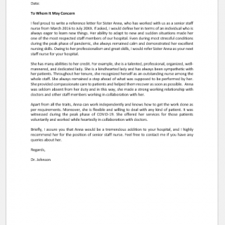 Reference letter for a nurse
