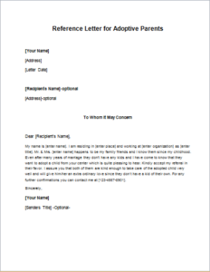 Reference letter for adoptive parents