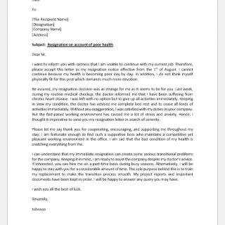 Resignation Letter because of Health Reasons
