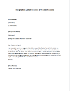 resignation letter sample due to health issues resignation letter because of health reasons 24296