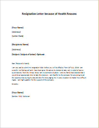 resignation letter format health issues resignation letter to take an early retirement 23038 | Resignation Letter because of Health Reasons