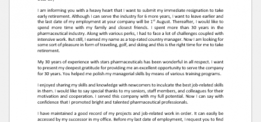 Resignation Letter to Take an Early Retirement