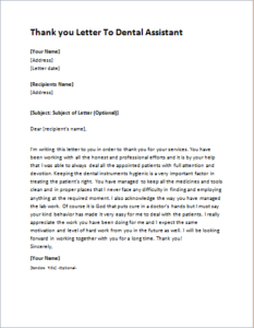 Thank you Letter To Dental Assistant