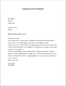 Letter for admission