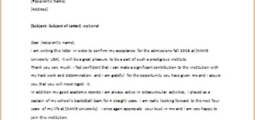 Acceptance Letter for Admission