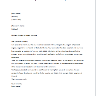 Acceptance Letter for University