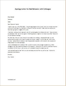 Apology Letter for Bad Behavior with Colleague