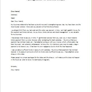 Apology Letter for Bounced Cheque