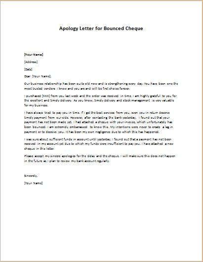 Apology Letter For Bounced Cheque Writeletter2 Com