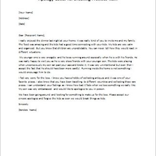 Apology Letter for Breaking Precious Item