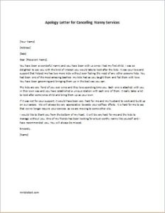 Apology Letter for Cancelling Nanny Services