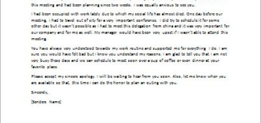 Apology Letter for Cancelling a Date or Appointment