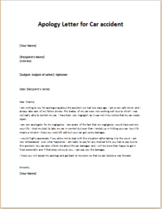 Apology Letter for Car accident