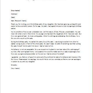 Apology Letter for Child Misbehavior