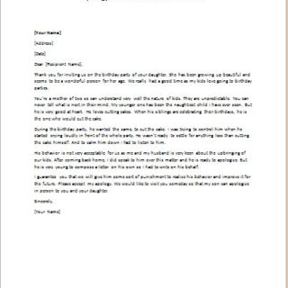 Apology Letter For Misbehavior At Birthday Party Writeletter2 Com