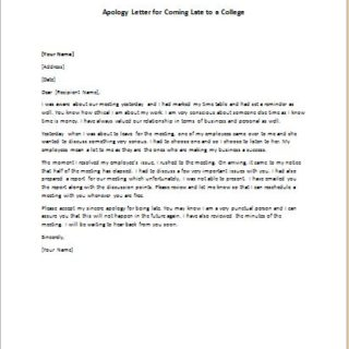apology letter for hurt feelings samples formal official and professional letter templates part 5 25038 | Apology Letter for Coming Late to a College 320x320