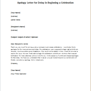 Apology Letter for Delay in Beginning a Celebration