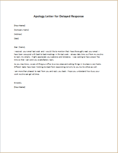 Apology Letter for Delayed Response