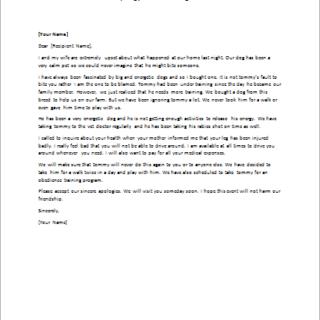 Apology Letter for Dog Bite
