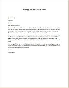 Apology Letter for Lost Item