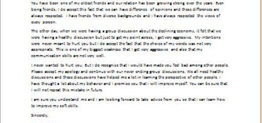 Apology Letter for Misbehavior