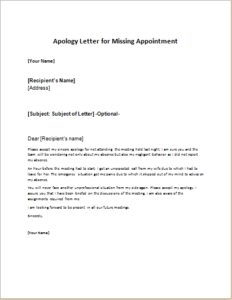Apology Letter for Missing Appointment