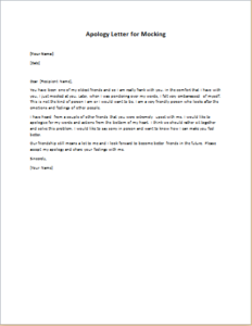 Apology Letter for Mocking