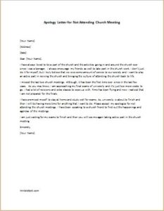 Apology Letter for Not Attending Church Meeting