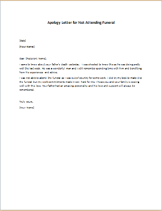 Apology Letter for Not Attending Funeral
