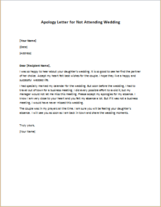 Apology Letter for Not Attending Wedding