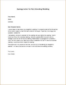 Apology Letter for Not Attending Wedding