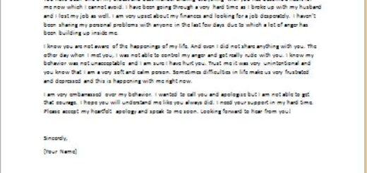 Apology Letter for Passive Aggressive Behavior