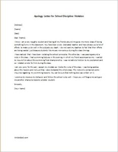 Apology Letter for School Discipline Violation