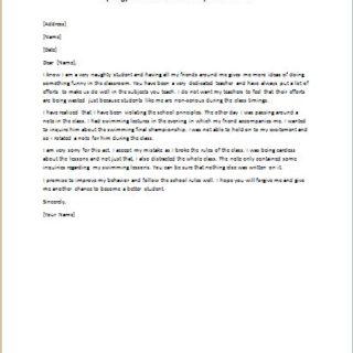 Apology Letter for School Discipline Violation