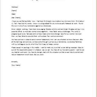 Apology letter for harassment for Sexual harassment letter template