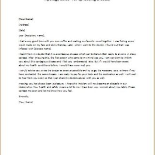 Apology Letter for Spreading Disease