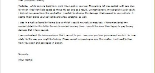 Apology Letter for Vehicle Damage