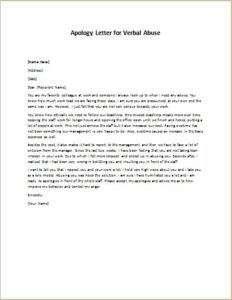 Apology Letter for Verbal Abuse
