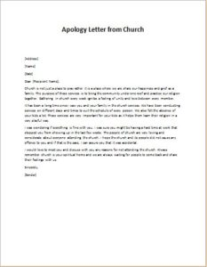 Apology Letter from Church
