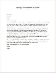 Apology Letter on Behalf of Partner